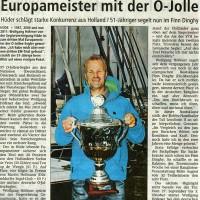 Bericht im Diepholzer Kreisblatt zum EM Erfolg von Wolfgang Höfener