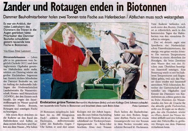 Medienberichte über Dümmer-Zustand und Fischsterben