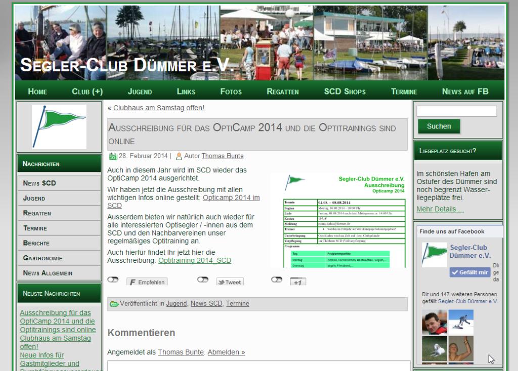 Ausschreibung für das OptiCamp 2014 und für das Opti-Training 2014 im SCD sind online
