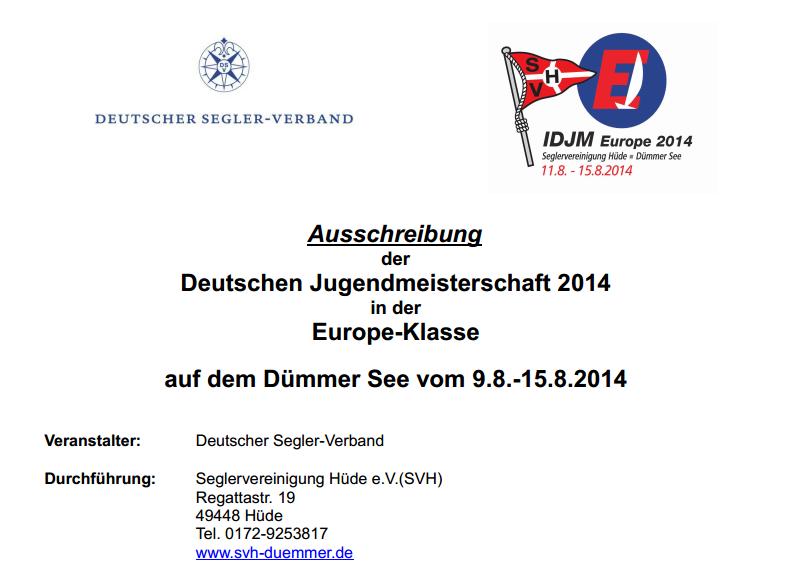 Ausschreibung zur IDJM der Europes 2014 in der SVH ist online